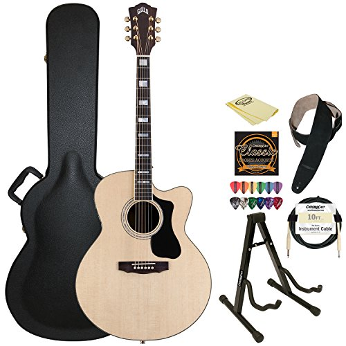 Guild F-150R-Ce Natural Jumbo Acoustic Electric Guitar With Guild Hard Case, Chromacast Strings, Stand, Picks, Cable, Strap And Polish Cloth