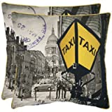 Safavieh Pillows Collection Belgrade Decorative Pillow, 18-Inch, Yellow and Grey, Set of 2