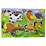 Set Of 2 Pcs Wooden Animal Pattern Lacing Puzzle Board Game For Kids & Children - Improves Shape Matching Skills...
