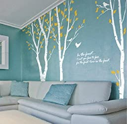 OneHouse Birch Tree Wall Decal White Branch Tree with Yellow Leaves Nature Tree Wall Stencil Kids Baby Nursery Decal Wall Art