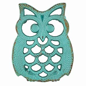 Blue Owl Iron Trivet Aqua Marine Teal Blue Kitchenware Dining Gift Ideas by The CrabNook