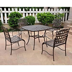 "Santa Fe Iron Dining Group Set of Five (Matte Brown) (39""W x 29""H x 39""D)"