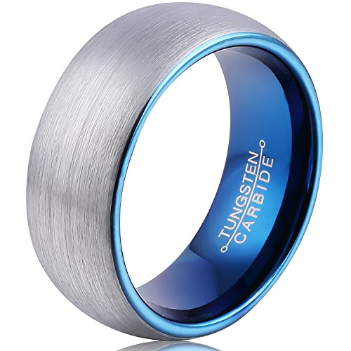 FCL 8mm Domed Mens Tungsten Carbide Band 8mm Inner Plating Blue Fashion Weddi