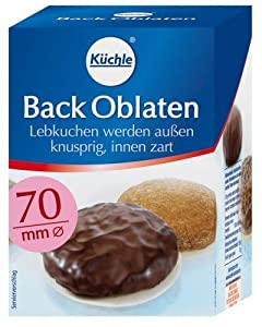 Kuechle Back-Oblaten (Round Baking Wafers) (70 mm), 100-Count Boxes (Pack of 10)