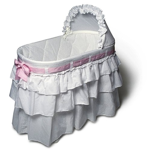 Burlington Baby Full Skirt Bassinet Liner with Ribbons, White