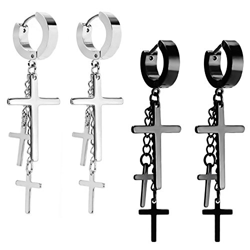 JewelrieShop 2 Pairs of Women Girls Cross Tassel Stainless Steel Earrings. Ideal for Madonna and Cyndi Lauper Costume