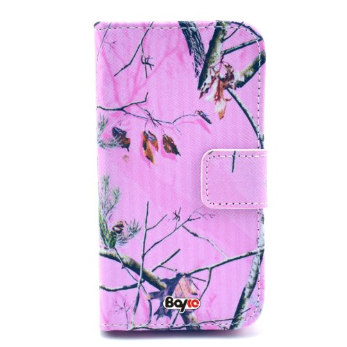 Bayke Brand / Motorola Moto E (Xt1021 / Xt1022 / Xt1025) Smartphone Fashion Pu Leather Wallet Flip Protective Skin Case With Stand With Credit Card Slots & Holder (Hunting Camo Fabric Camouflage Pink Tree Print)