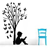 Decal Style Boy Reading Under Tree & ButterFlies Wall Sticker Small Size-12*20 Inch
