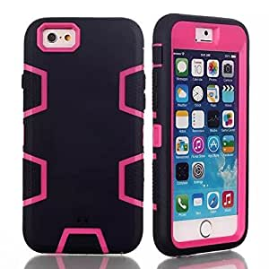 """iPhone 6 case, iPhone 6 4.7"""" (2014 version) case, SUPWISER Full Body Hybrid Impact Shockproof Defender Case Cover for iPhone 6 (2014 version) - Black/Hot Pink"""