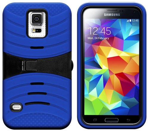 Mylife (Tm) Electric Navy Blue And Deep Charcoal Black - Shockproof Survivor Series (Built In Kickstand + Easy Grip Ridges) 2 Piece + 2 Layer Case For New Galaxy S5 (5G) Smartphone By Samsung (Internal Flex Silicone Bumper Gel + Internal 2 Piece Rubberize