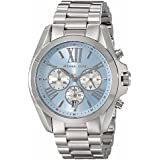 Michael Kors Watches Bradshaw Chronograph Stainless Steel Watch (Silver/Blue)
