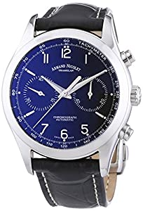 Armand Nicolet Men's Automatic Watch with Black Dial Analogue Display and Black Leather Strap 9744A-NR-P974NR2