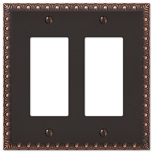 2-Gang Rocker Decorator GFI Wall Plate Cover Egg & Dart Switch Plate, Oil Rubbed Bronze image
