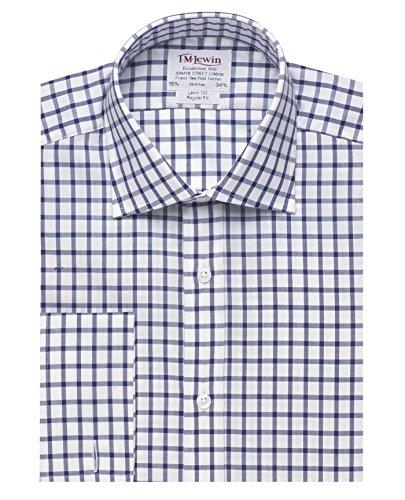 tmlewin-camicia-casual-a-quadri-classico-maniche-lunghe-uomo-blu-blu