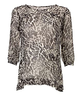 Maternity Three-Quarter Sleeve Animal Print Blouse
