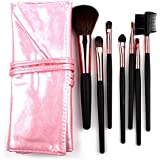 Mokale 7pieces Pro Makeup Brushes Face And Eye Set With PU Leather Roll Pouch Professional Eye Lip Foundation...