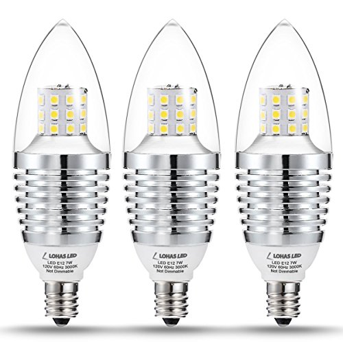 (3 Pack) LOHAS LED Bulb, 3000K Soft White Candelabra LED Lights, 65-70 Watt Light Bulbs Replacement, 7 Watt E12 Candelabra Base LED Bulbs, 120V, 680 Lumens Lamps for Home