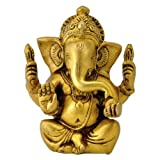 "Redbag - Lord Seated Ganesha Brass Statue (4.75""H X 3.75""W X 2""D)"