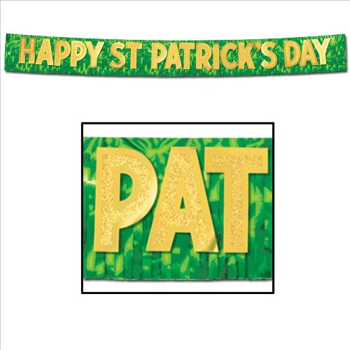 Metallic Happy St Patrick's Day Banner (green w/gold gltrd gold ltrs) Party Accessory  (1 count) (1/Pkg)