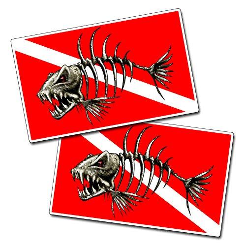 Bone Fish Scuba Dive Flag Smile Vinyl Decal Sticker Graphic (Scuba Decal compare prices)