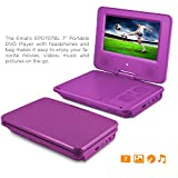 Ematic 7-Inch Swivel Portable DVD Player with Headphones and Bag, Purple
