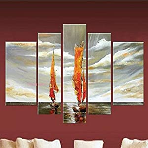 Amazon.com: 5 Pcs Modern Sailing Picture On Canvas Abstract Oil