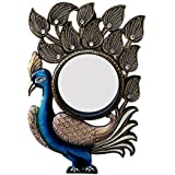 Divraya Wood Peacock Wall Mirror (30.48 Cm X 4 Cm X 45.72 Cm, DA136)