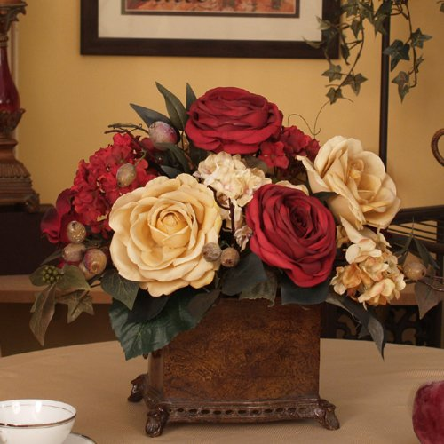 Red & Yellow Rose Bouquet - Silk Floral Centerpiece