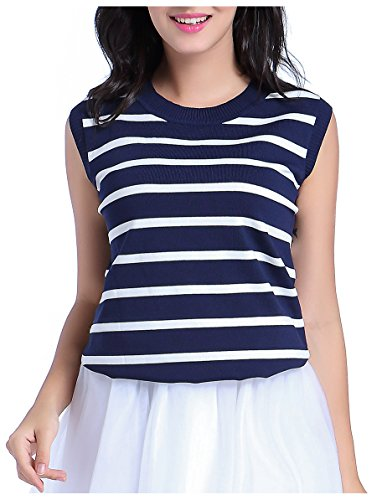 V28 Women's Spring Summer Crew Neck Sleeveless Ribbed Striped Essential Knit Top (Medium, Navy & White)