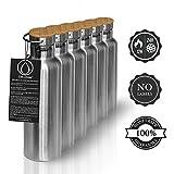 Bouteille-Isotherme-Thermos-1l-750-ml-500ml-Rutilisable-en-Acier-Inoxydable-et-le-Couvercle-de-Bambou-100-GARANTIE-de-Remboursement-Bon-pour-Bb-sans-Plastique-et-BPA-par-Pure-Design
