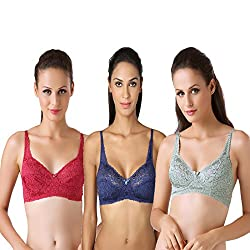 Bodyline Full Coverage Floral Lacy Maroon Royal and Spring Bra