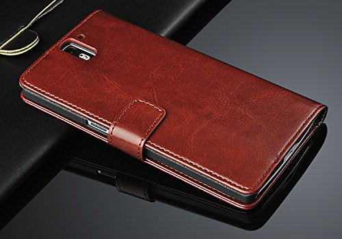 Excelsior Premium High Quality Leather Wallet Cover Case for OnePlus One - Brown