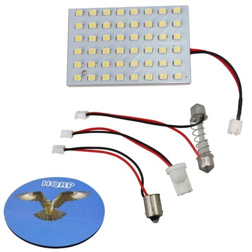 HQRP T10 / BA9s / Festoon 48 LEDs SMD 3528 LED Light Panel Cool White for RV Interior / Ceiling / Porch Bulbs Replacement plus HQRP Coaster