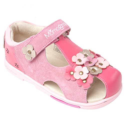 Momo Grow Toddler/Little Kid Pansies Fuchsia Leather Sandal Shoes - 9 M Us Toddler front-1051015
