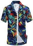 APTRO(アプトロ)メンズ アロハシャツ オシャレ メンズシャツ フローラル ワイシャツ プリントシャツ ハワイ風 半袖シャツ 通気速乾 UV対策 ST19ブルー JP L(タグ S)