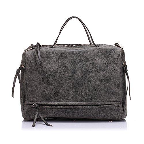 PU a spalla in pelle Messenger Borse Donna realer casuale Grande borse di colore grigio scuro