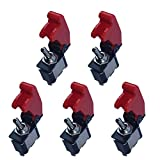 E Support 12V 20A Red Cover Rocker Toggle Switch SPST ON/OFF Car Truck Boat 2Pin Pack of 5