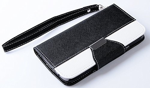 Mylife Jet Black And Bright White {Classic Fashion Design} Faux Leather (Card, Cash And Id Holder + Magnetic Closing) Slim Wallet For The All-New Htc One M8 Android Smartphone - Aka, 2Nd Gen Htc One (External Textured Synthetic Leather With Magnetic Clip