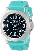 TKO ORLOGI Unisex TK548-TT Milano Remixed Plastic Case and Turquoise Rubber Strap Watch