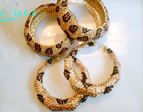 Pave Crystal Encrusted Leopard Bangles and Bamboo Earrings Set