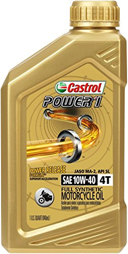 Castrol 06112 Power1 10W-40 Synthetic 4T Motorcycle Oil - 1 Quart Bottle, (Pack of 6)