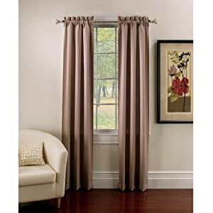 Ridgedale Thermal Backed Rod Pocket Curtain Panel Pair 63 Inch in Taupe