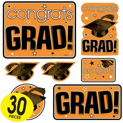 Orange Graduation Cutouts Mega Value Pack