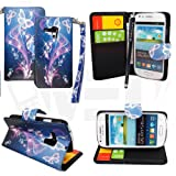 For Samsung Galaxy S3 Mini i8190 Ultra Butterfly Style 7 Book Type PU Leather Flip Case Cover + Stylus + Screen Guard