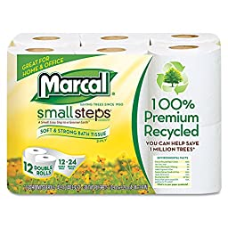 Marcal MAC 6112 Small Steps 100% Recycled Double Roll Bathroom Tissue, White (Pack of 72)