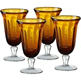 Artland Savannah Amber Bubble Glass Goblet, Set of 4