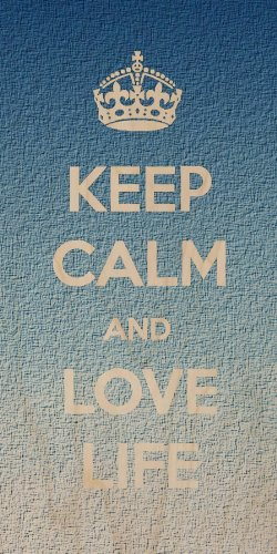 """Keep Calm And Love Life"" Grainy Texture Style Background - Plywood Wood Print Poster Wall Art front-1080940"