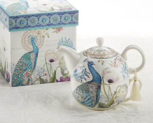 Purchase Delton Products Peacock Porcelain Tea for One in Gift Box