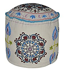 Handmade Suzani Embroidery Design Cotton Foot Rest Round Ottoman Cover 18 X 18 X 14 Inches