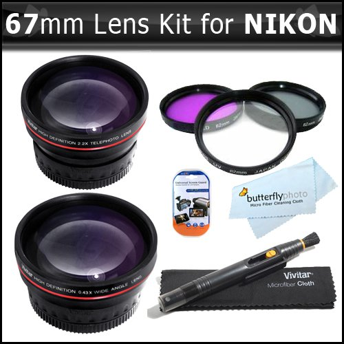 67Mm Bundle Wide Angle Macro Lens + 2X Telephoto Lens + 3 Pc. Filter Kit For The Nikon D3200 D3000, D3100, D5000, D7000 Dslr Cameras.These Lenses And Filters Will Attach Directly To The Following Nikon Lenses 18-105Mm, 18-135Mm, + Lcd Screen Protectors +